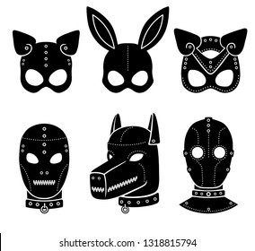 Set of animation masks for adults. Person, dog, cat, rabbit. Template for erotic content. Vector illustration isolated on a white background. Print, poster, t-shirt, card, emblem, icon.
