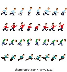 A set of animations as a person walks, runs, is sad, is proud