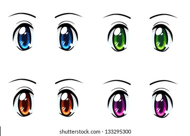 Set Of Anime Style Eyes Different Colors Isolated On White