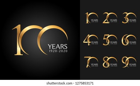 Set of anniversary badges. Golden anniversary celebration emblem design for company profile, booklet, leaflet, magazine, brochure poster, web, invitation or greeting card. Vector illustration.