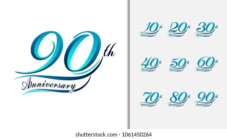 Set of anniversary Calligraphic and Typographic. Colorful anniversary celebration lettering design for booklet, leaflet, magazine, brochure poster, web, greeting card. Vector illustration.