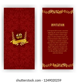 Set of anniversary card, invitation with laurel wreath, number. Decorative gold emblem of jubilee on red background. Filigree element, frame, border, icon, logo for web, page design in vintage style