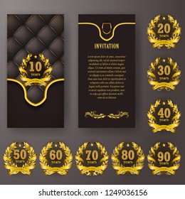 Set of anniversary card, invitation with laurel wreath, number. Decorative gold emblem of jubilee on black background. Filigree element, frame, border, icon, logo for web, page design in vintage style