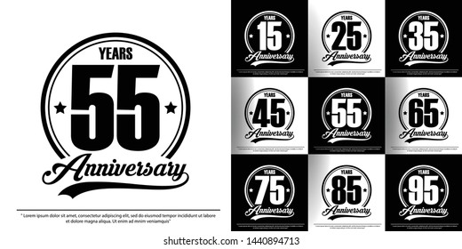 set of anniversary celebration emblem, 15th-95th anniversary logo label, black and white stamp isolated. template design for web,poster, booklet, leaflet, flyer, greeting and invitation card