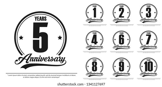 set of anniversary celebration emblem, 1st-10th anniversary logo label, black and white stamp isolated. template design for web,poster, booklet, leaflet, flyer, greeting and invitation card