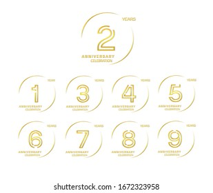 Set of anniversary celebration. Anniversary logo with ring and elegance golden color isolated on white background, vector design for celebration, invitation card, and greeting card