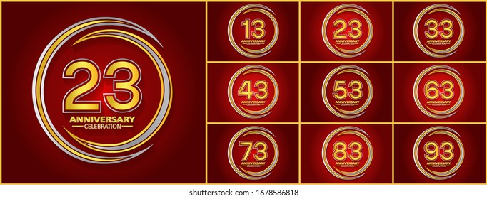 Set of anniversary celebration. Anniversary logo with ring silver and gold color isolated on red background, vector design for celebration, invitation card, and greeting card