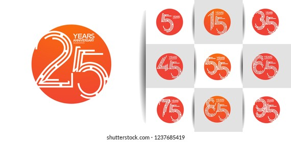 set of anniversary circle logotype orange color for celebration event