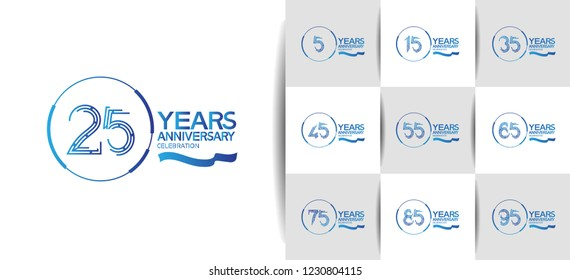 set of anniversary design blue color ring and ribbon for celebration