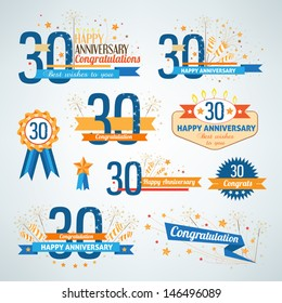Set of anniversary design elements