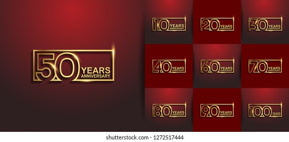 set of anniversary design golden color in square on red background