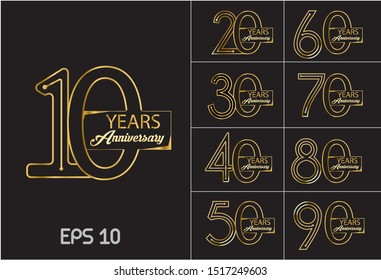 set of anniversary design golden color with ribbon on black background