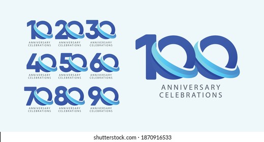 Set anniversary design logo concept. Logo for celebrations your company, greeting card, digital banner or print.