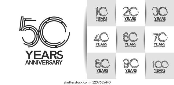 set of anniversary emblems black color on white background for celebration event