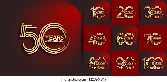 Set of Anniversary emblems golden color, anniversary design with labyrinth style number for booklet, leaflet,invitation card, magazine, poster, web, greeting card of celebration event