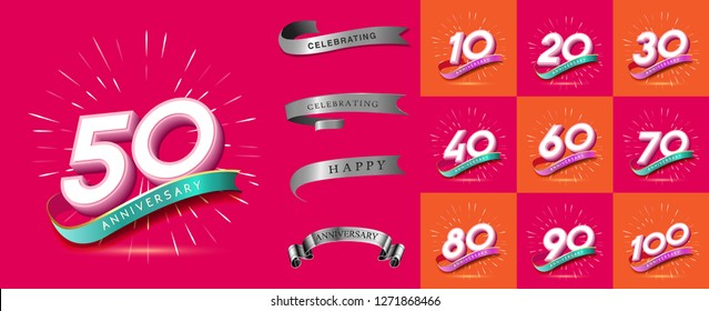 Set of Anniversary emblems , anniversary template design for web, game ,Creative poster, booklet, leaflet, flyer, magazine, invitation card - Vector