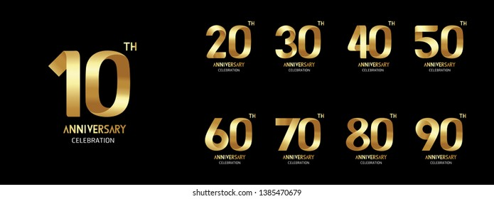 Set of anniversary  golden icon. Flat design