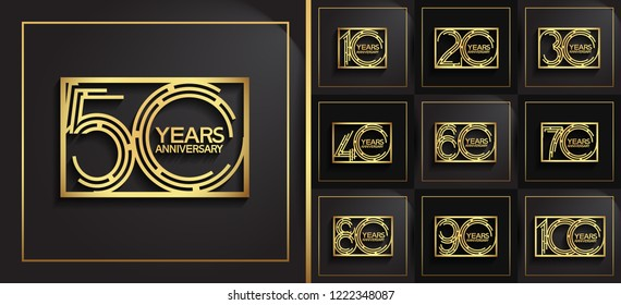 Set of Anniversary golden templates, anniversary design with labyrinth style number and square for booklet, leaflet,invitation card, magazine, poster, web, greeting card of celebration event