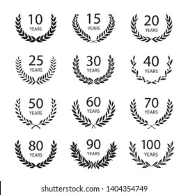 Set of anniversary laurel wreaths. Black and white anniversary symbols isolated on black background. 10,15, 20, 25, 30, 40, 50, 60,70, 80, 90, 100 years. Template for award and congratulation design.