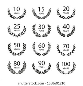 Set of anniversary laurel wreaths. Black and white anniversary symbols isolated on black background. 10, 15, 20, 25, 30,40,50,60,70,80,90, 100 years. Template for award and congratulation design.