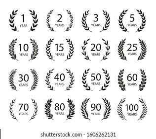 Set of anniversary laurel wreaths. Black and white anniversary symbols. 1,2,3, 5,10,15,20,25, 30,40,50,60,70,80,90,100 years. Template for award and congratulation design. Vector illustration.