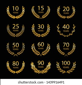 Set of anniversary laurel wreaths. Gold anniversary symbols on black background. 10, 15, 20, 25, 30,40,50,60,70,80,90, 100 years. Template for award and congratulation design. Vector illustration