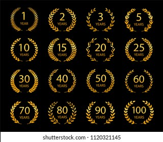 Set of anniversary laurel wreaths. Golden anniversary symbols isolated on black background. 1,2,3,5,10, 15,20,25,30,40,50,60,70,80,90,100 years. Template for award and congratulation design.