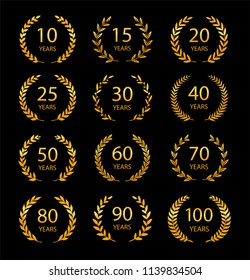 Set of anniversary laurel wreaths Golden anniversary symbols isolated on black background.10,15,20,25, 30,40,50,60,70,80,90,100 years. Template for award and congratulation design. Vector illustration