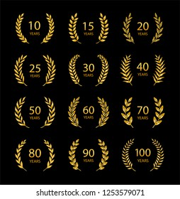Set of anniversary laurel wreaths. Golden anniversary symbols isolated on black background. 10, 15, 20, 25, 30, 40, 50, 60, 70, 80, 90, 100 years. Template for award and congratulation design.