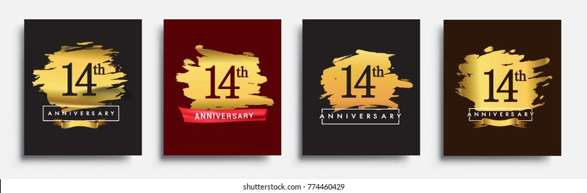 Set of Anniversary logo, 14th anniversary template design on golden brush background, vector design for greeting card and invitation card, Birthday celebration