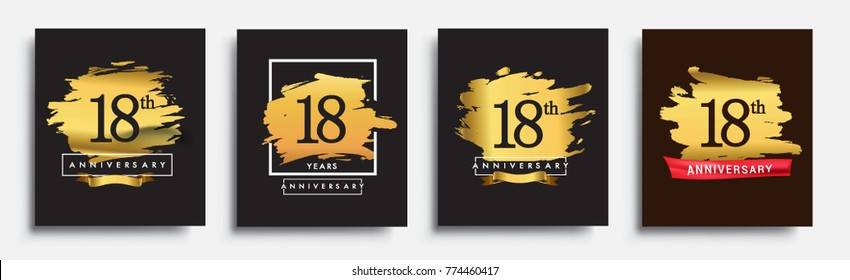 Set of Anniversary logo, 18th anniversary template design on golden brush background, vector design for greeting card and invitation card, Birthday celebration