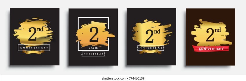 Set of Anniversary logo, 2nd anniversary template design on golden brush background, vector design for greeting card and invitation card, Birthday celebration