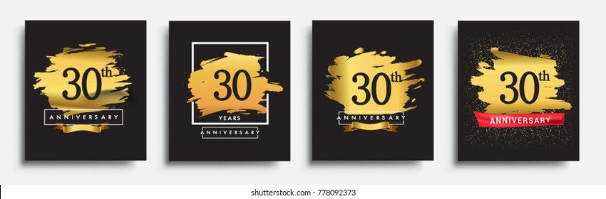 Set of Anniversary logo, 30th anniversary template design on golden brush background, vector design for greeting card and invitation card, Birthday celebration