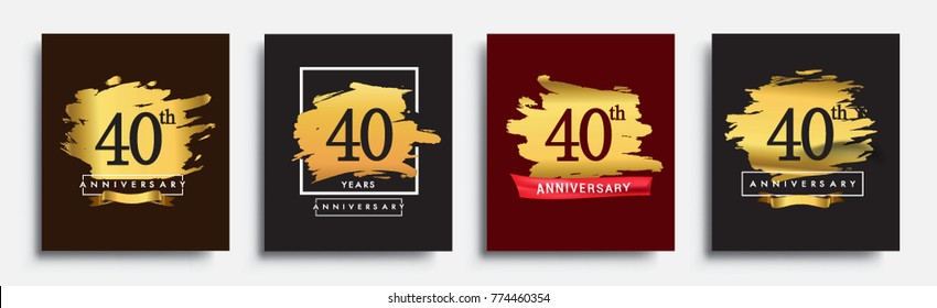 Set Of Anniversary Logo 40th Template Design On Golden Brush Background Vector