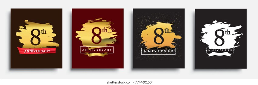 Set of Anniversary logo, 8th anniversary template design on golden brush background, vector design for greeting card and invitation card, Birthday celebration
