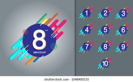 Set of anniversary logotype. Anniversary celebration with colorful abstract background design for booklet, leaflet, magazine, brochure poster, web, invitation or greeting card. Vector illustration.