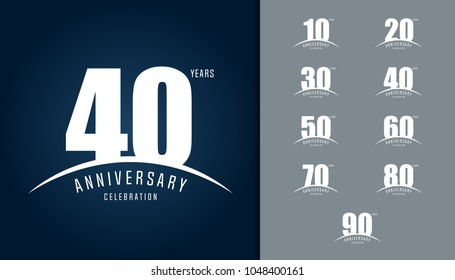 Set of anniversary logotype. Anniversary celebration design template for booklet, leaflet, magazine, brochure poster, web, invitation or greeting card. Vector illustration.