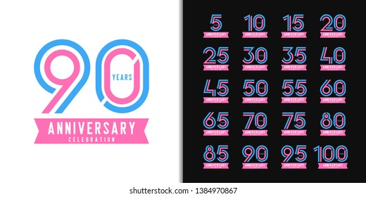 Set of anniversary logotype. Colorful anniversary celebration emblem design for company profile, booklet, leaflet, magazine, brochure, web, invitation or greeting card. Vector illustration.