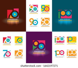 Set of Anniversary logotype design, Celebrating Anniversary Colorful Logo for celebration event, invitation, greeting, web template, Flyer and booklet, Play symbol, 70, 90, 100, 70th, 90th, 100th