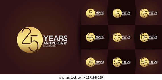 set of anniversary logotype design with circle golden and silver color on brown background for celebration event