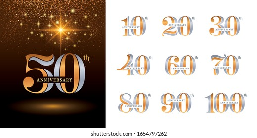 Set of Anniversary logotype design, Elegant Classic Logo, Vintage and retro Serif Number Letters, Celebrating Anniversary Logo silver and golden for Congratulation celebration event, invitation.