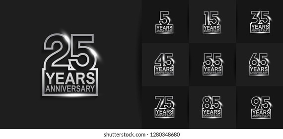 set of anniversary logotype design with glowing silver isolated on black background