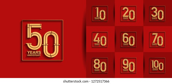 set of anniversary logotype design golden color on square isolated on red background for celebration event