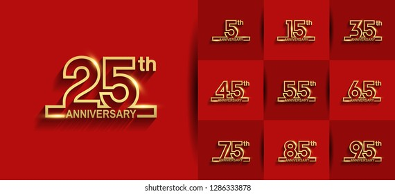set of anniversary logotype design golden color line style on red background for celebration event