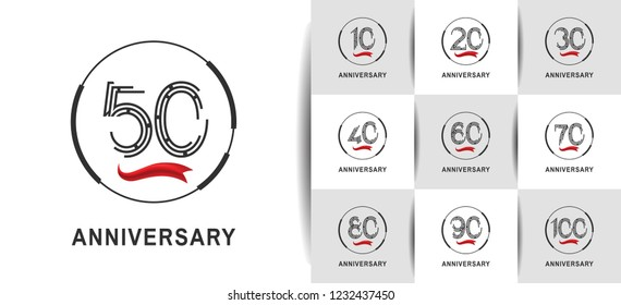 set of anniversary logotype flat design with ring and red ribbon for celebration