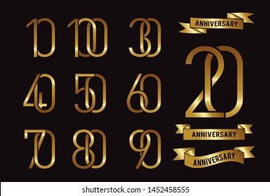 Set of anniversary logotype and gold ribbon. Golden anniversary celebration emblem design for booklet, leaflet, magazine, brochure poster, web, invitation or greeting card. Vector illustration