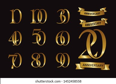 Set of anniversary logotype and gold ribbon. Golden anniversary celebration emblem design for booklet, leaflet, magazine, brochure poster, web, invitation or greeting card. Vector illustration