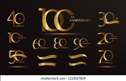 Jubiläumslogotype und Goldband. Goldener Jubiläumsfeier - Design für Broschüren, Broschüren, Broschüren, Web, Einladung oder Grußkarte. Vektorillustration.