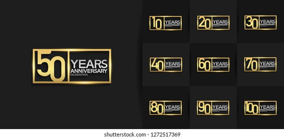 set of anniversary logotype gold and silver color combination on square for celebration event