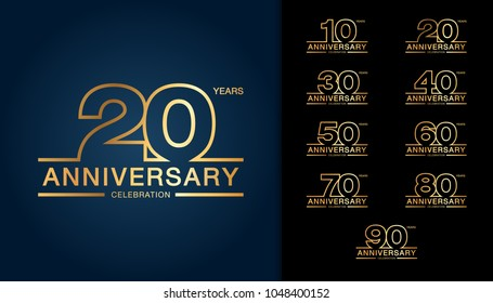 Set of anniversary logotype. Golden anniversary celebration emblem design for booklet, leaflet, magazine, brochure poster, web, invitation or greeting card. Vector illustration.